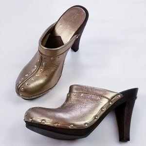 MICHAEL Michael Kors Gold Leather Clip On Mules
